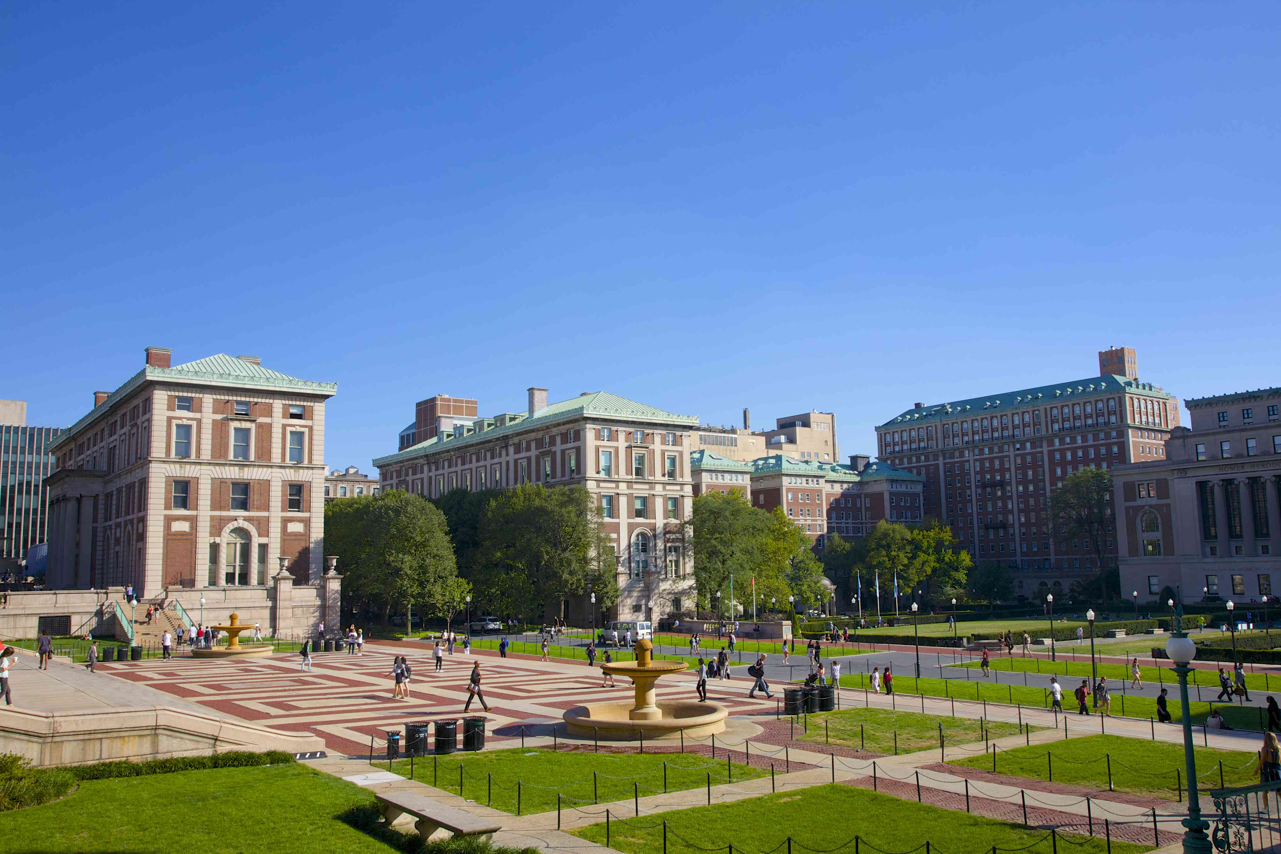 Lawns, plaza and academic buildings, New York