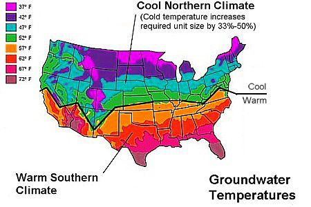Map of groundwater temperatures across the country.