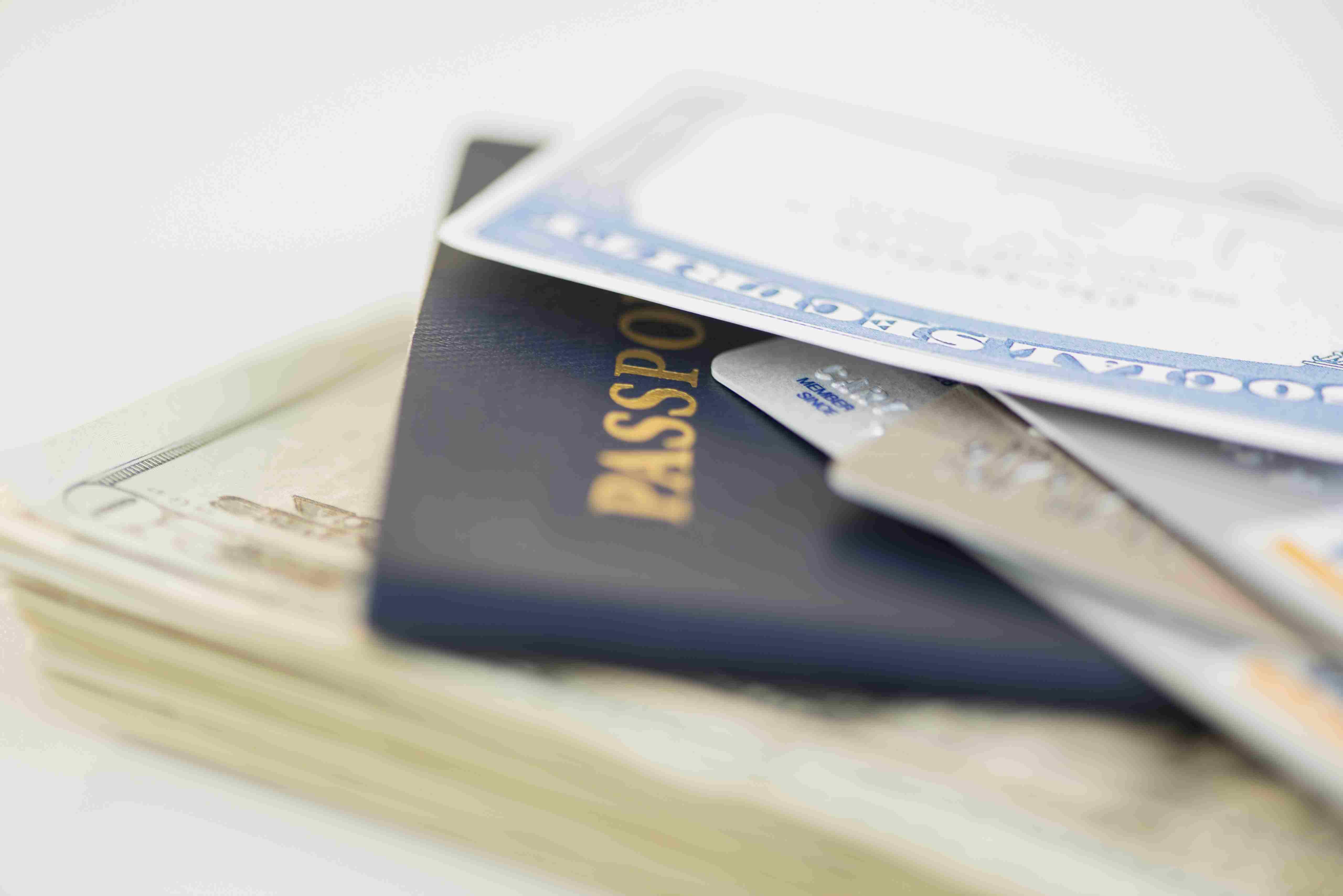USA, New Jersey, Jersey City, Close of up passport and Social Security Card