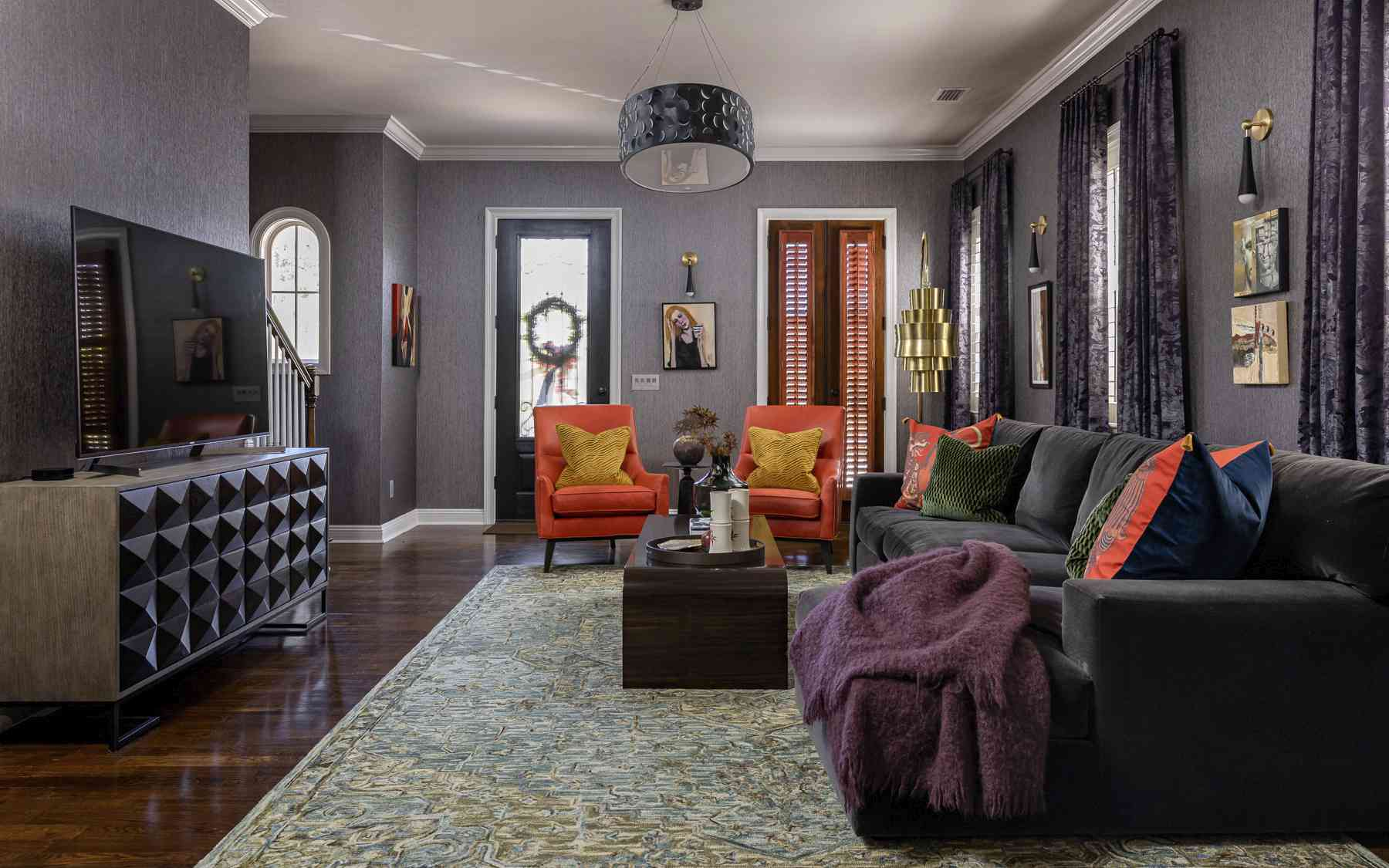 purple and black living room
