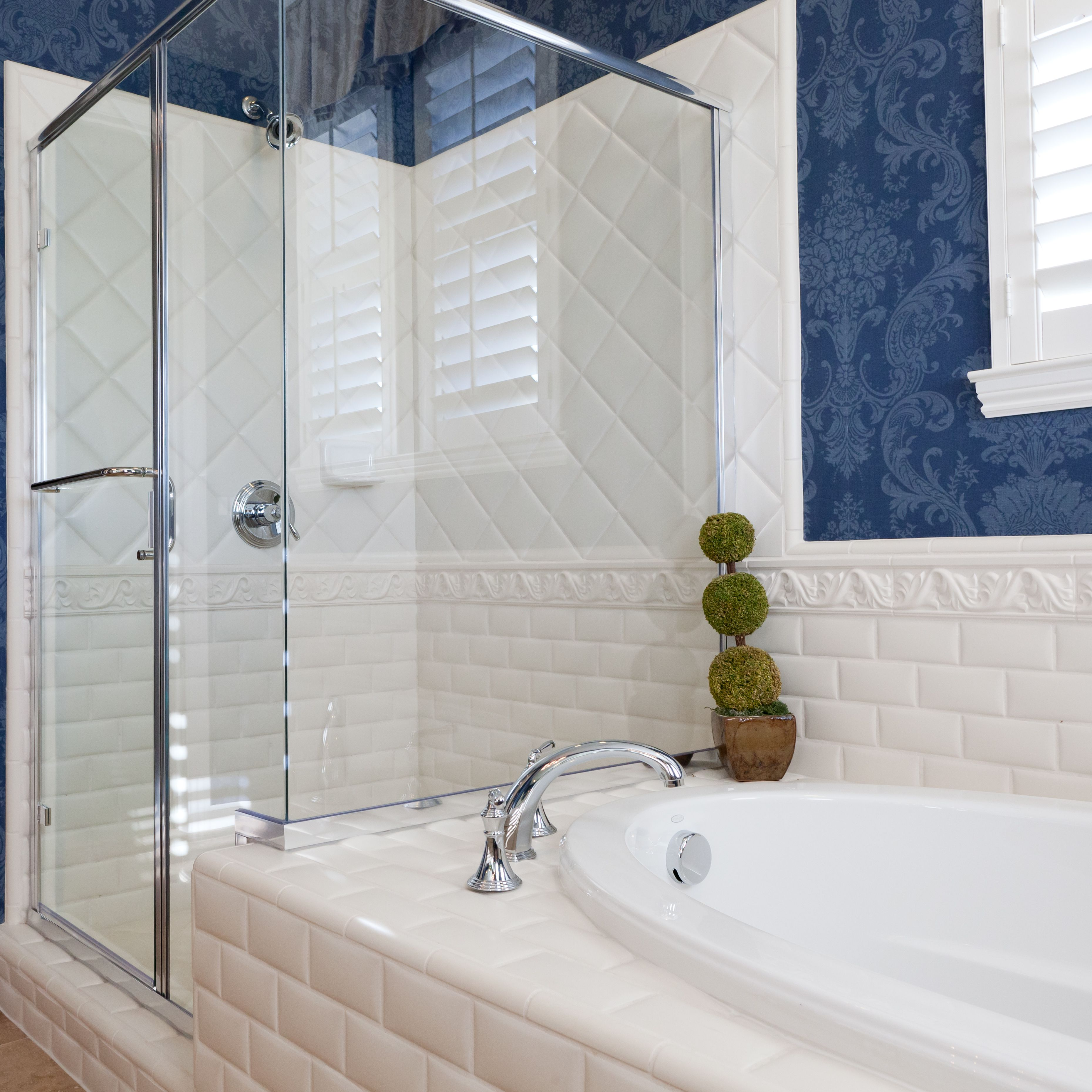 decorative glass block borders for a shower wall or windows.htm 5 smart ways to use wallpaper in your bathroom  wallpaper in your bathroom