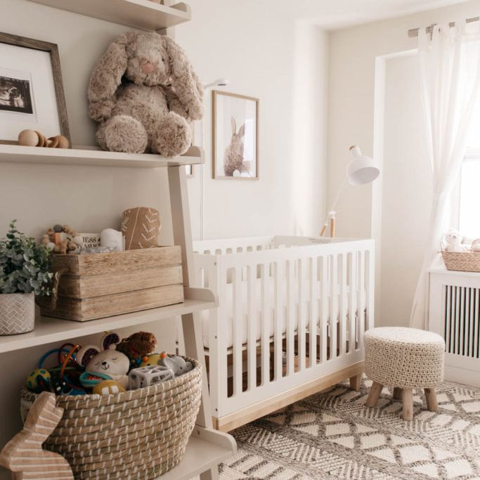 Neutral nursery with woven accent carpet