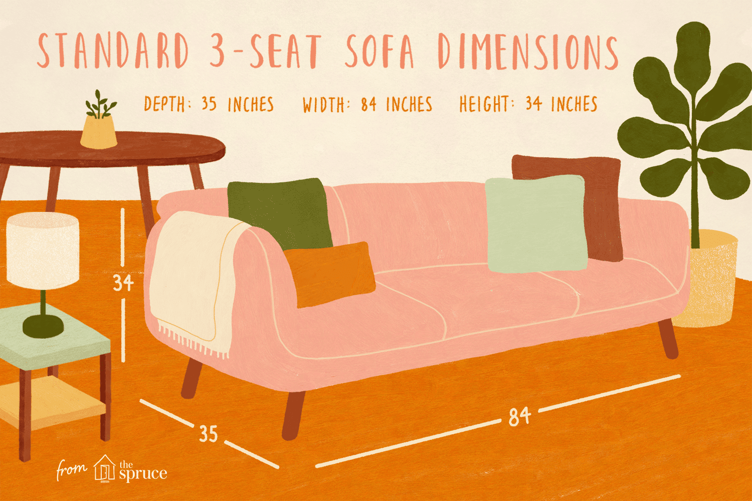 Ilration Of Standard 3 Seat Sofa Dimensions