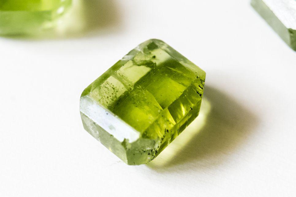 closeup of a peridot crystal