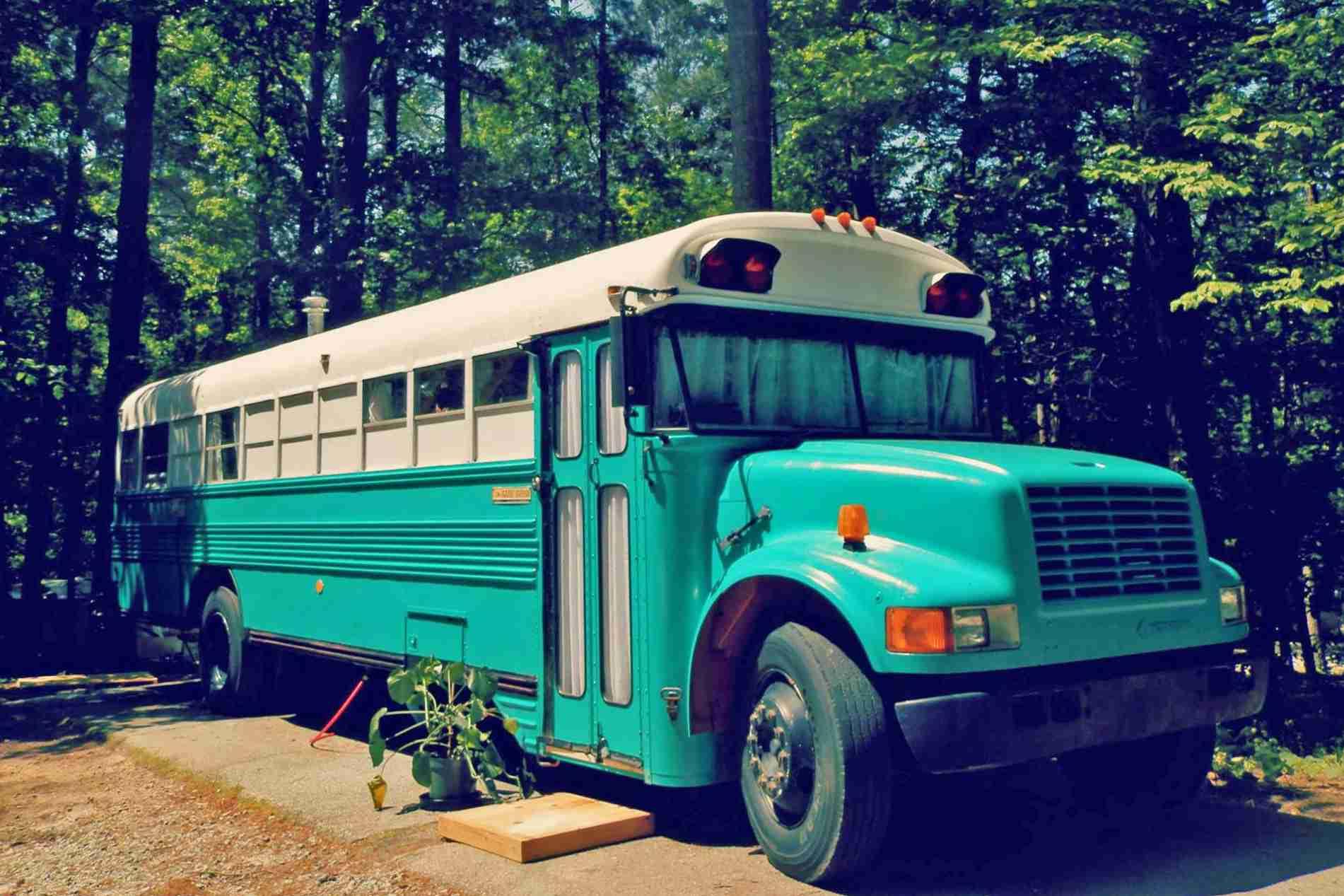 Teal house bus