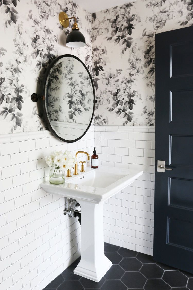 bathroom with black tile