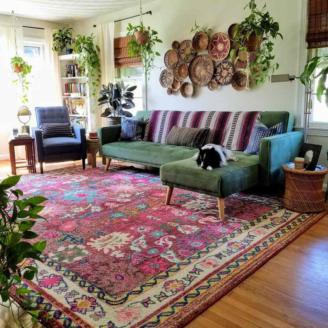 Boho style living room with a lot of plants