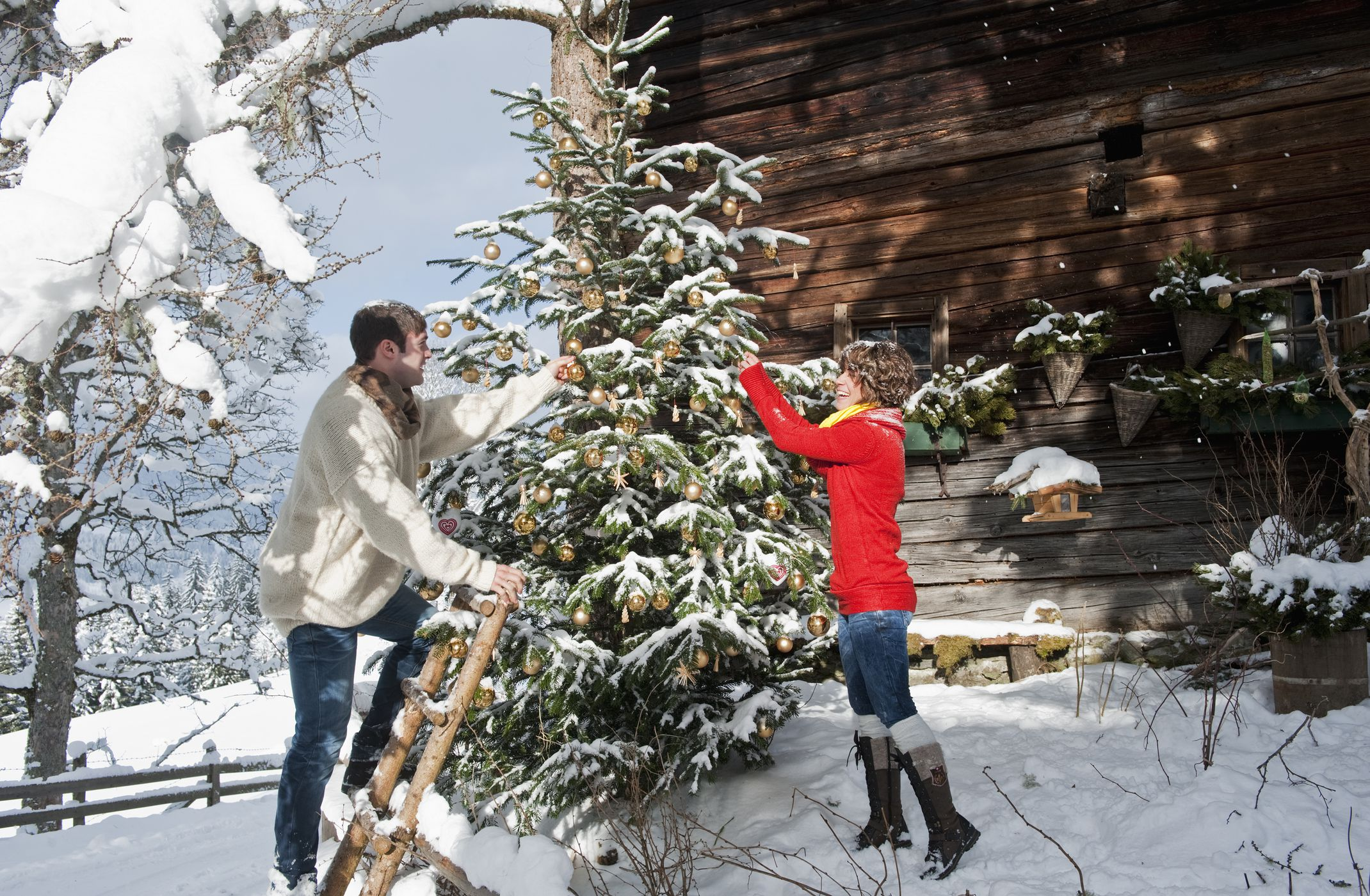 Couple with a ladder decorating an outdoor Christmas tree in a snowy landscape.