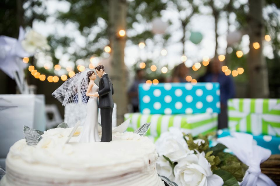Cake topper on a wedding cake