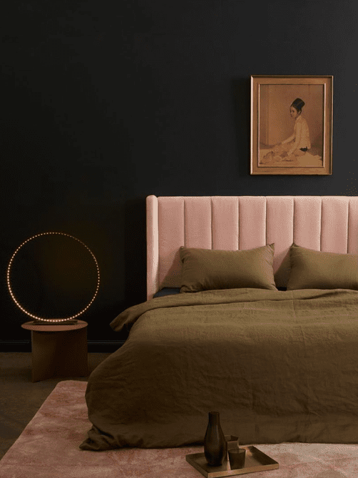 blush and black bedroom