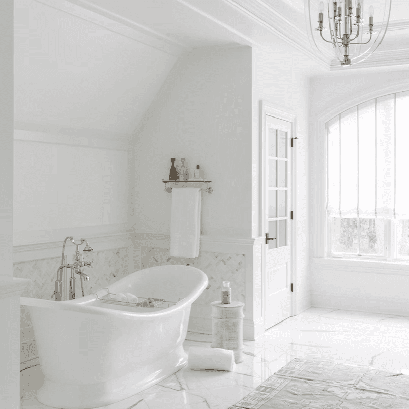 White bathroom with muted accents