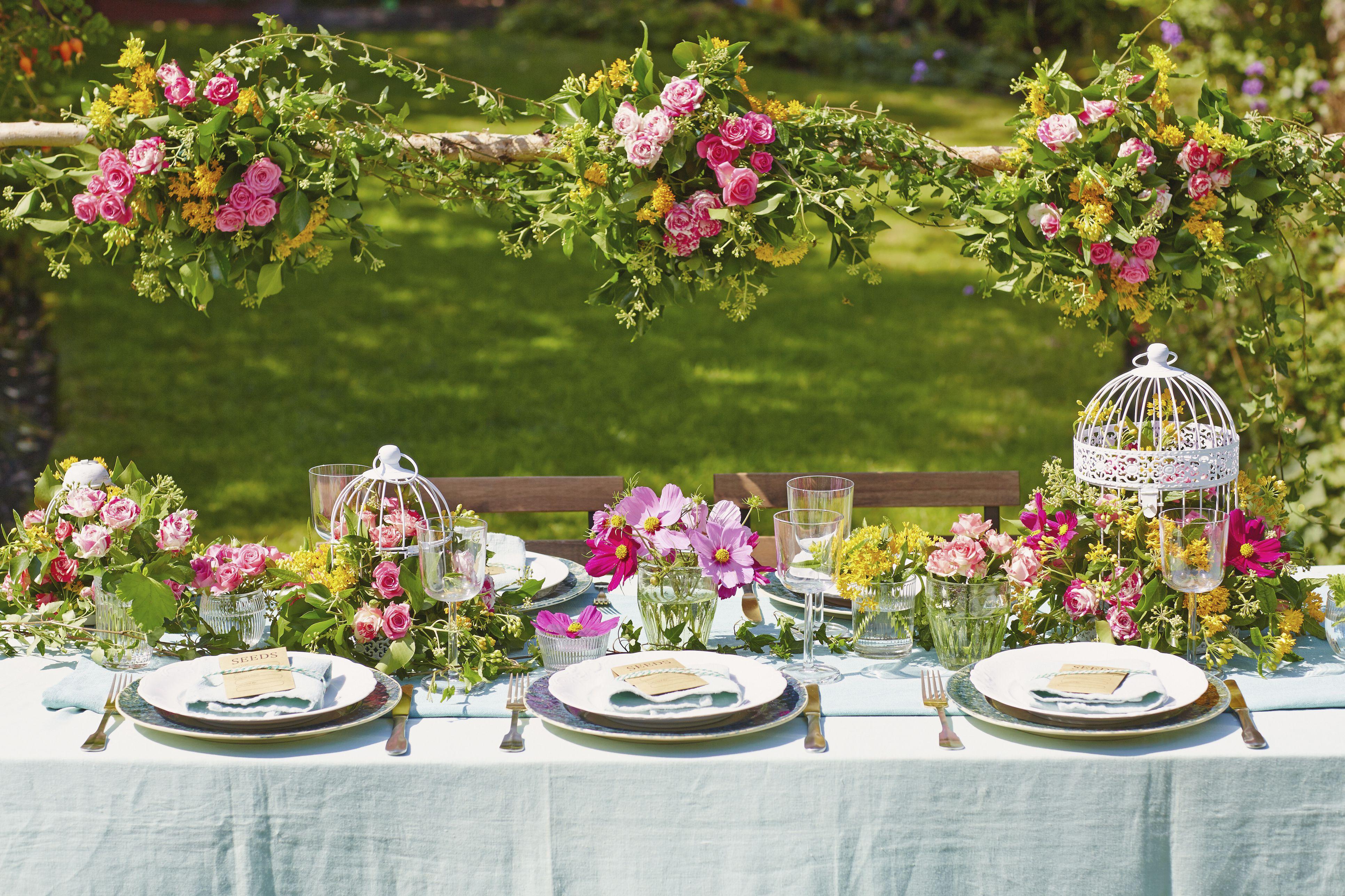 Garden party table setup