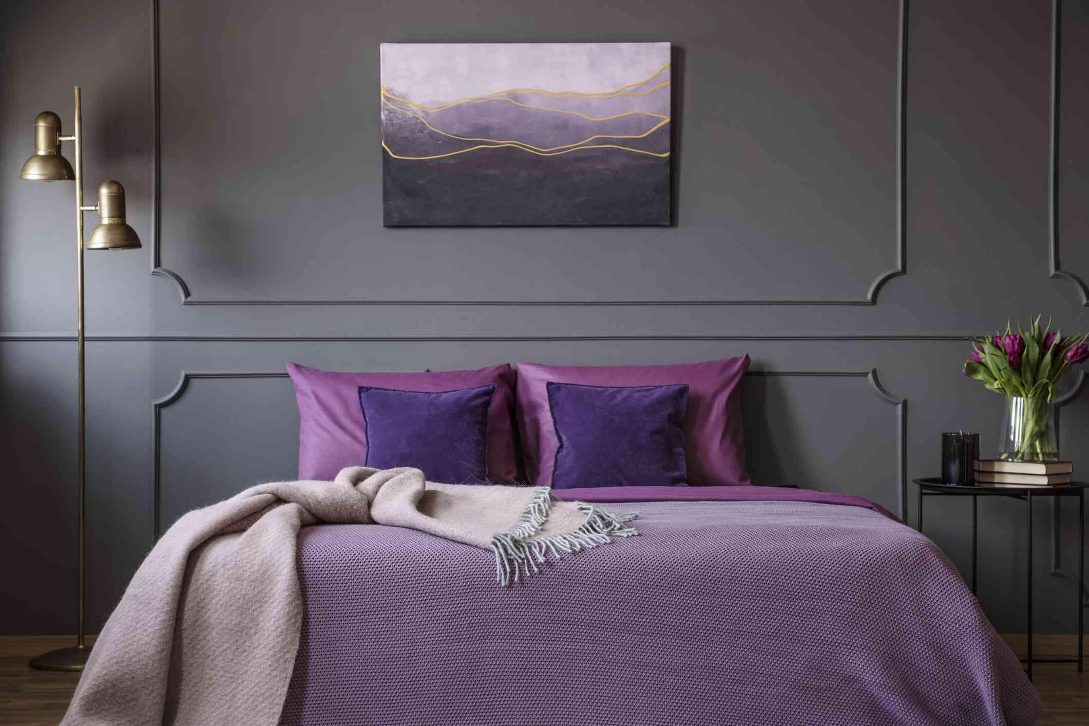 Purple linens in a bedroom