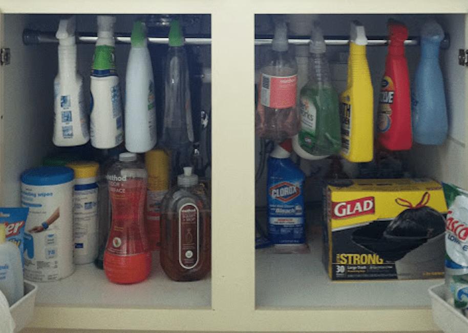 Under-sink cleaning storage
