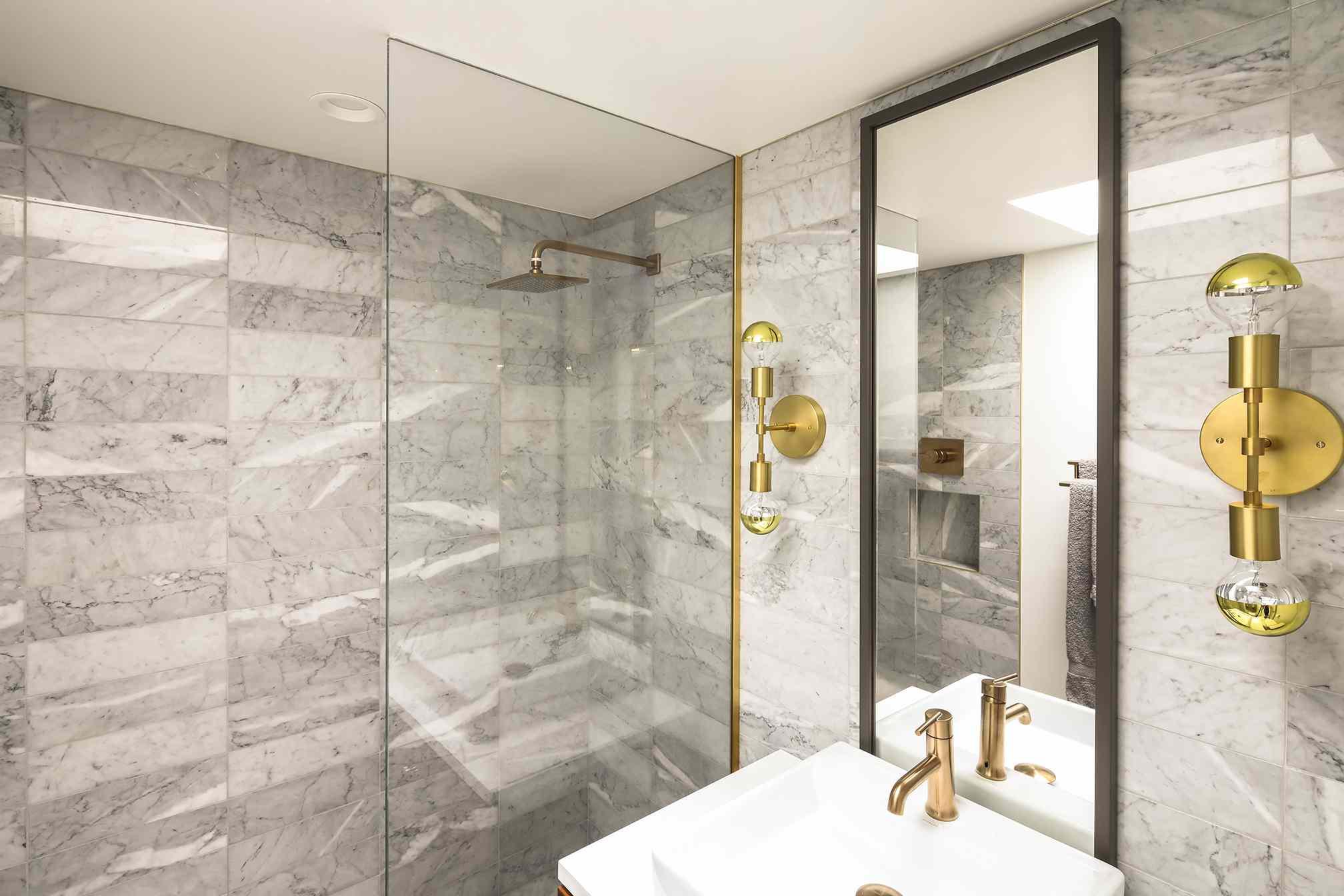 Bathroom with gray tiles