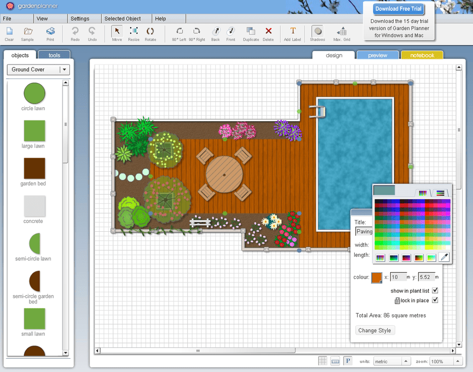 Screenshot of a garden designed using Garden Planner at SmallBluePrinter.com