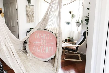 Monochromatic Indoor Hammock Living Room