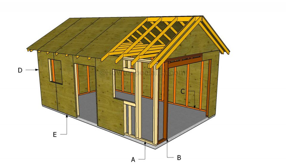 A diagram of a detached garage