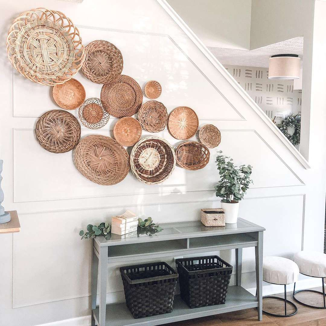 White staircase with baskets on it