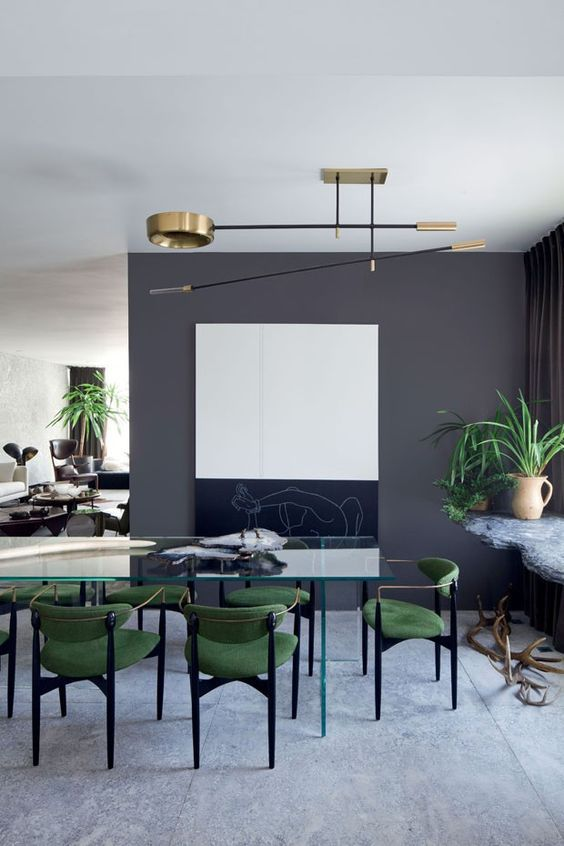 Gray Dining Room With Green Chairs
