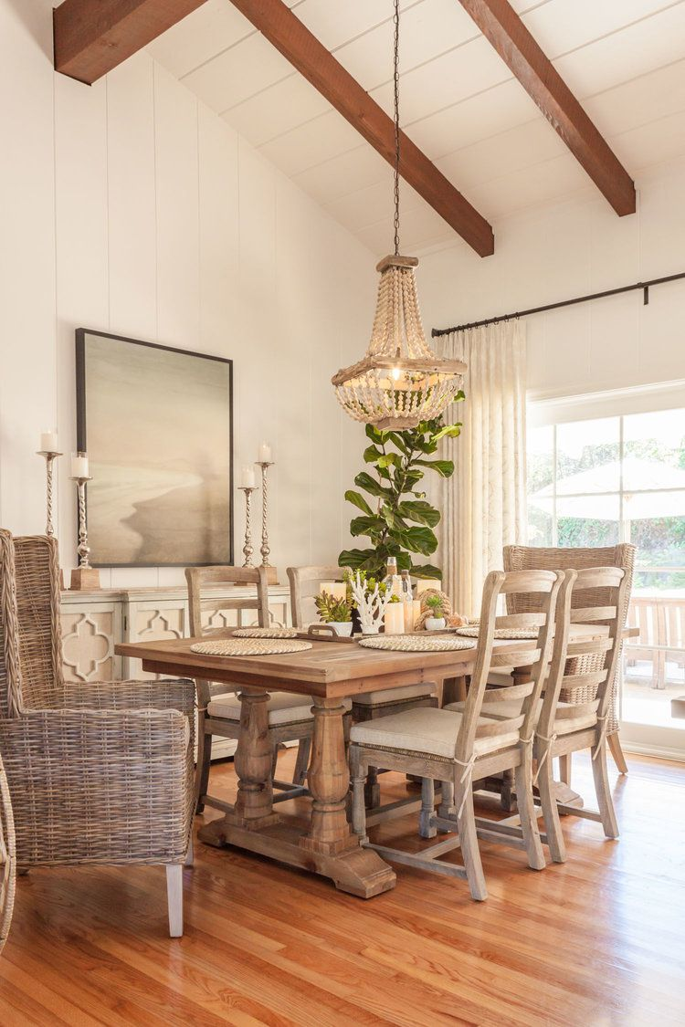farmhouse and coastal dining room