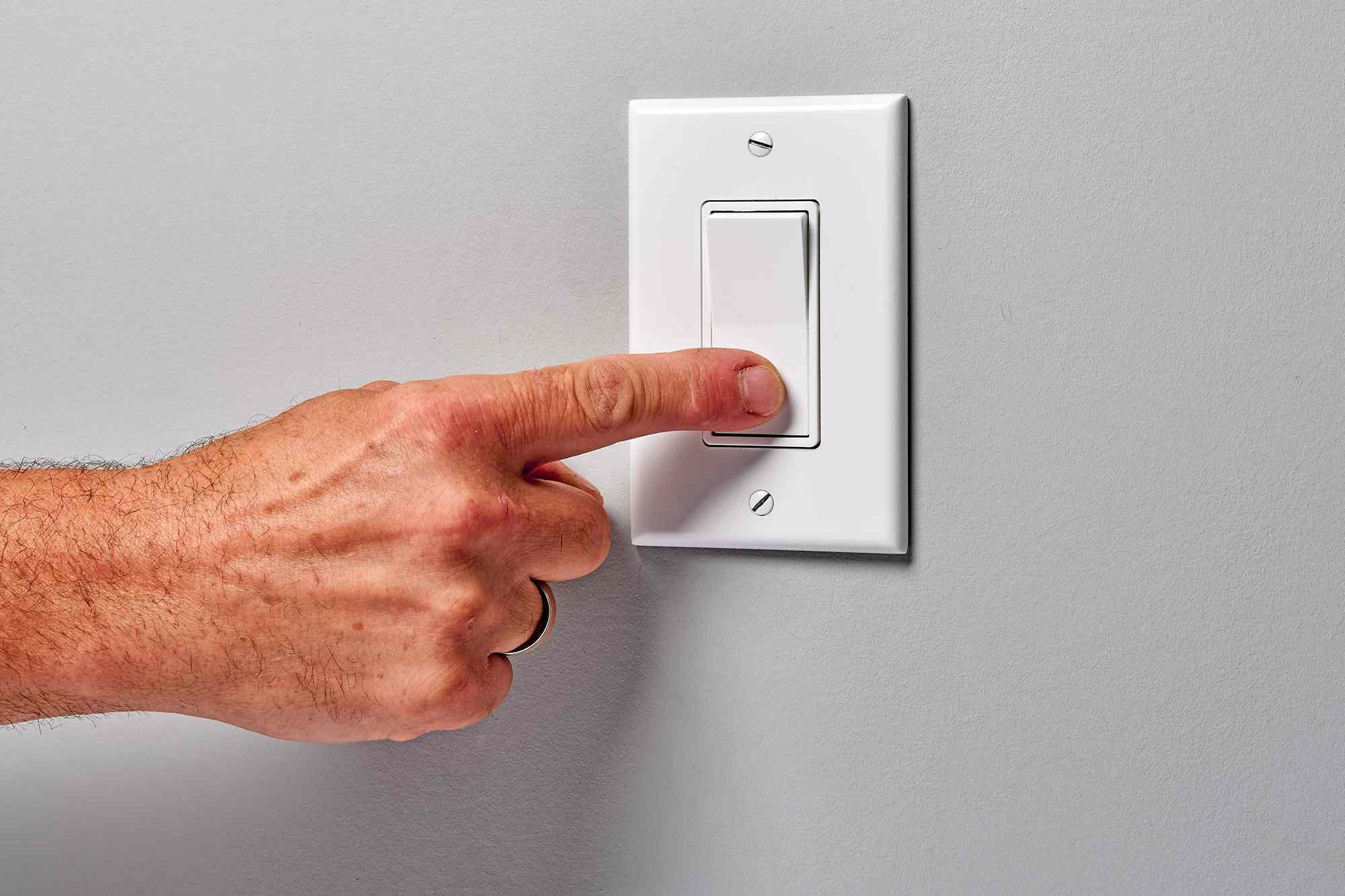 Light switch pressed and turned off