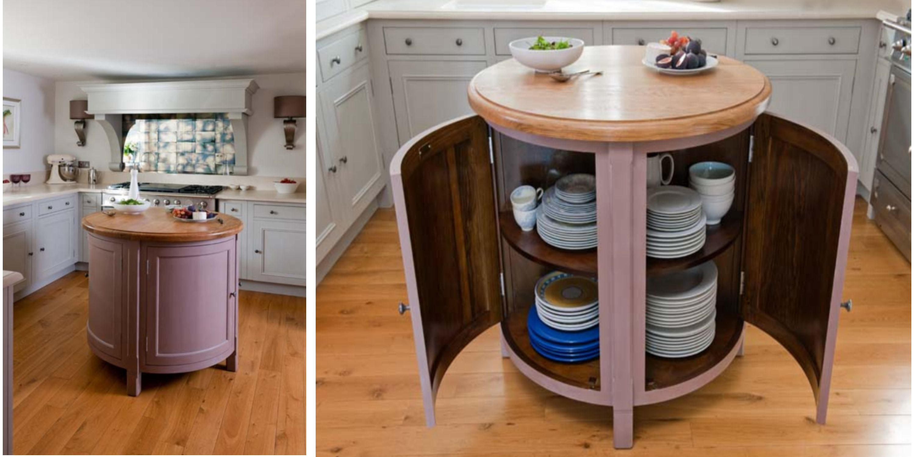 Small Circular Movable Kitchen Island Table