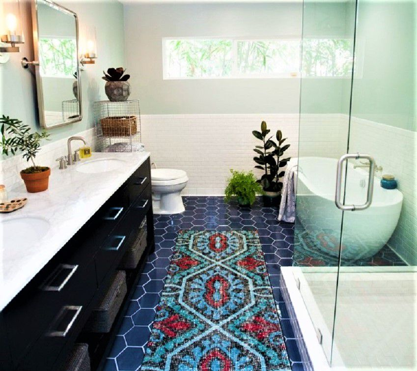 Colorful Bathroom Remodel After