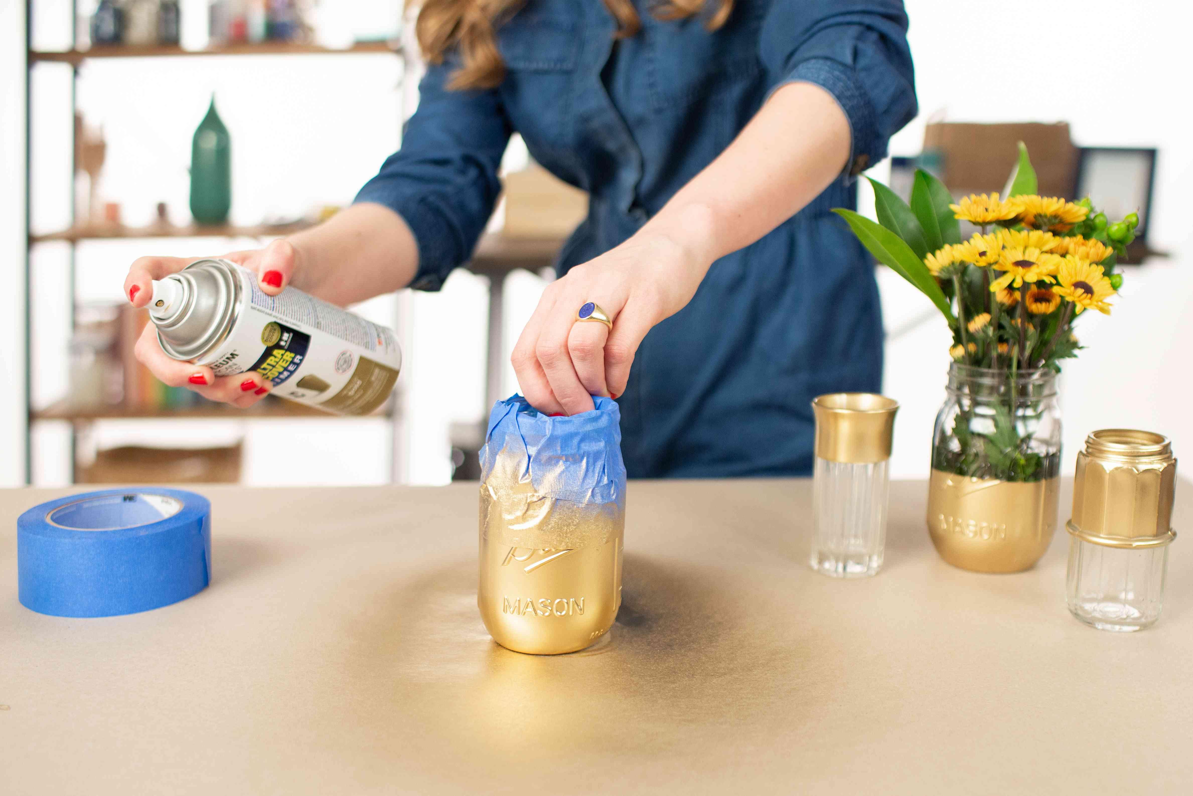 jar with spray paint