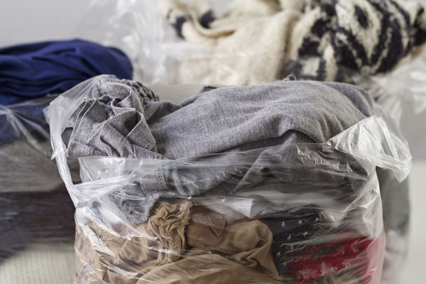 Clothes in plastic bags