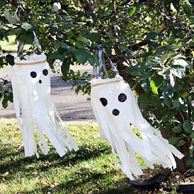 Plastic bag ghost decorations.