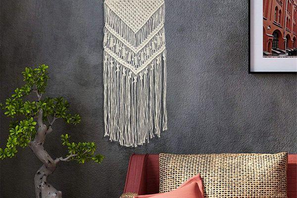 macrame wall decor in stylish living room