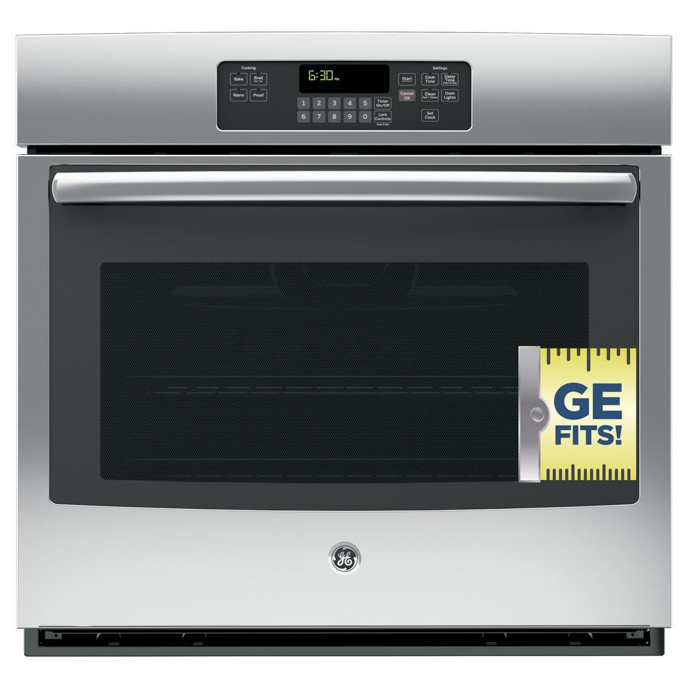 GE 30 in. Single Electric Wall Oven Self-Cleaning with Steam in Stainless Steel