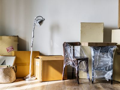 Packed furniture in a new house