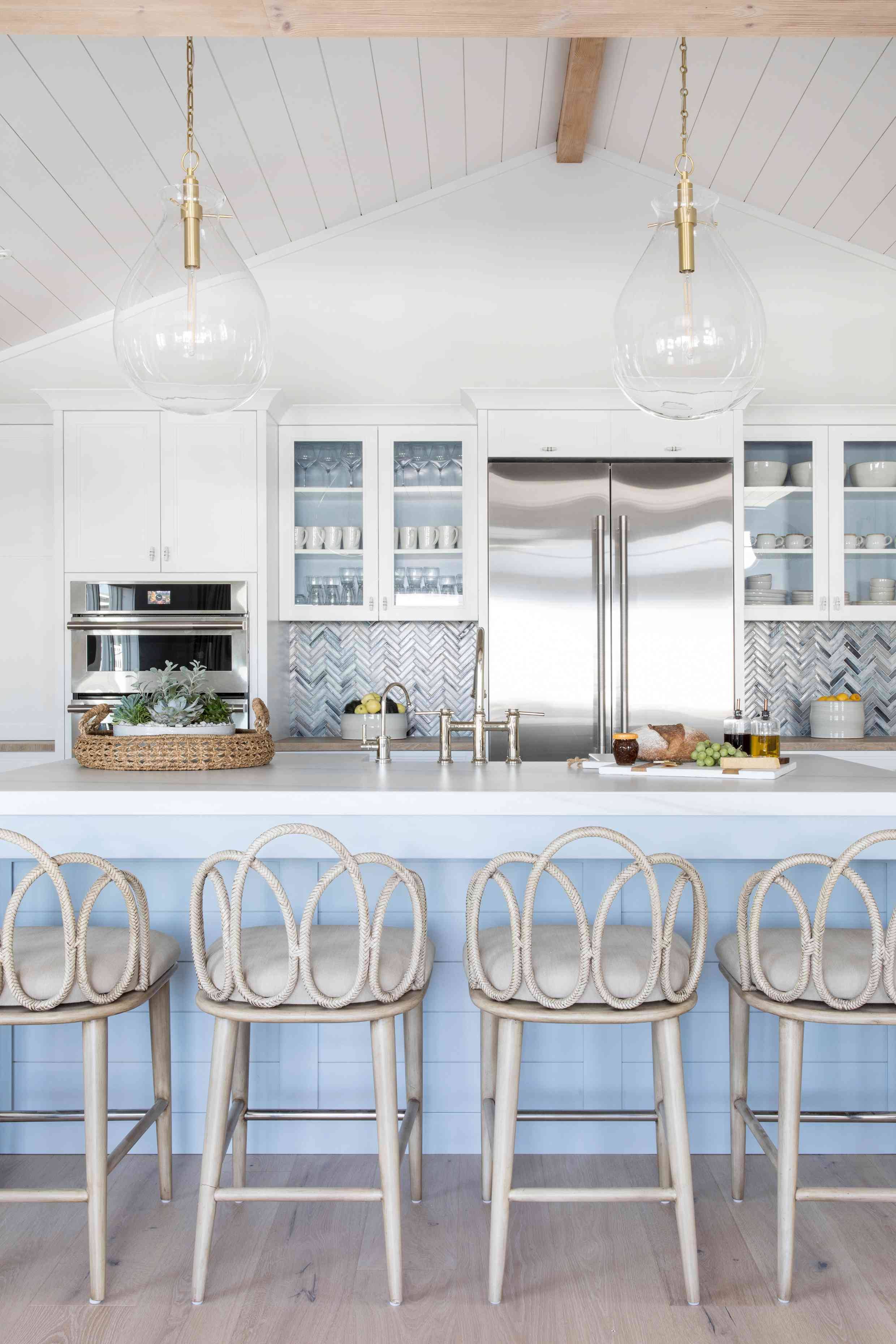 The blue and white kitchen in the Long Beach Island home of Karen B. Wolfe