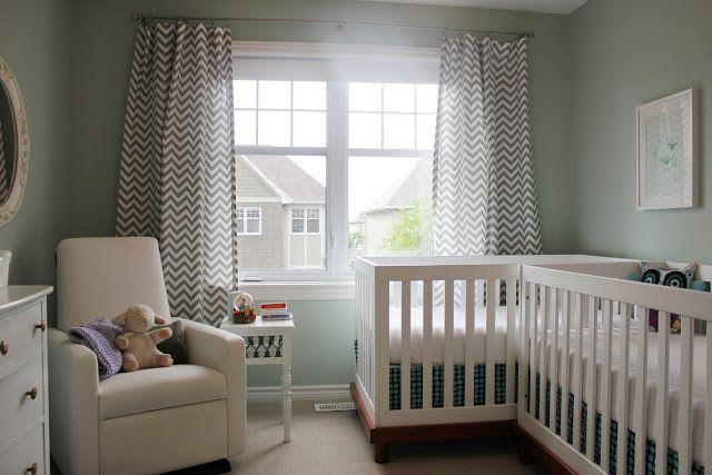 Caddy-corner cribs in gender-neutral, aqua and grey twin nursery