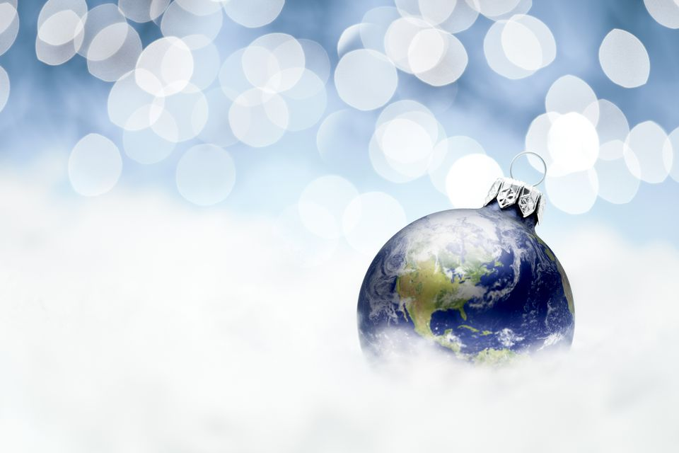A planet Christmas tree ornament