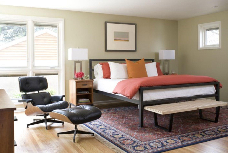 orange mid-century modern bedroom