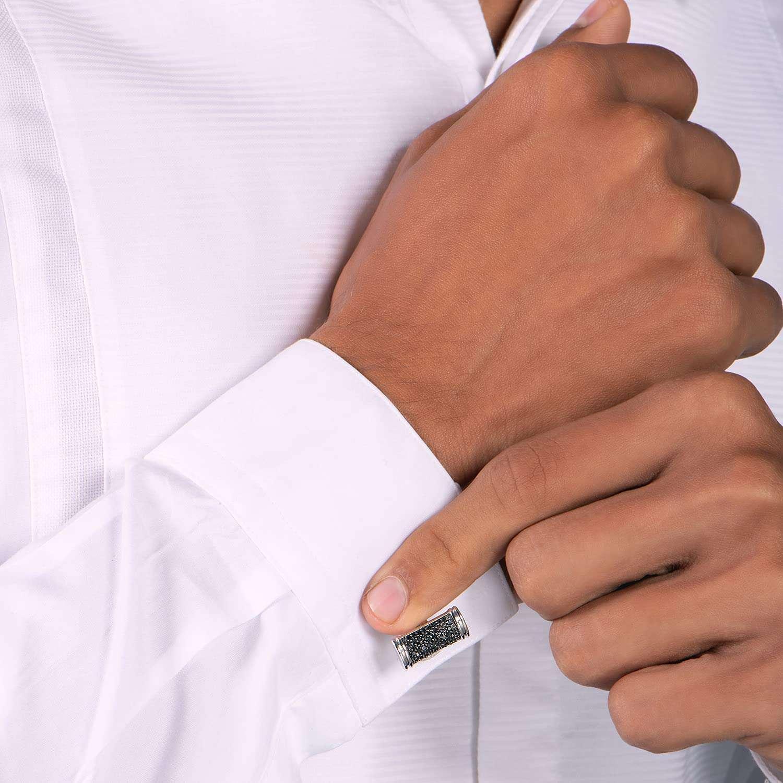 Jewelili Sterling Silver Black Diamond Men's Cuff Links
