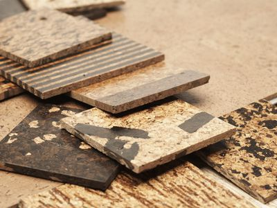 Assorted cork tiles, elevated view