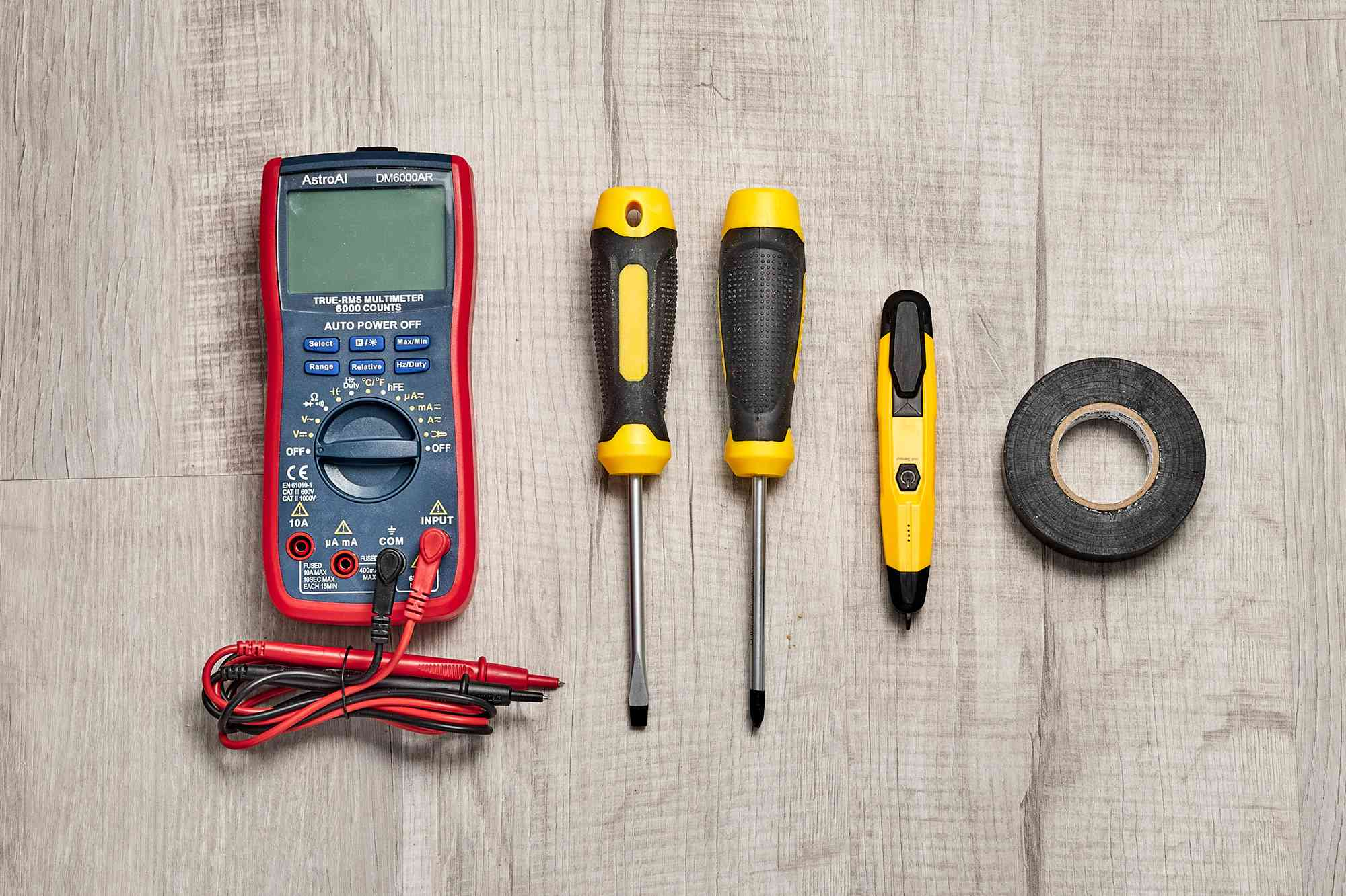Materials and tools to test a light switch
