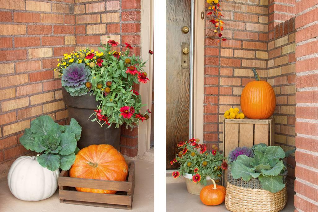 Arreglo floral colorido porche de otoño