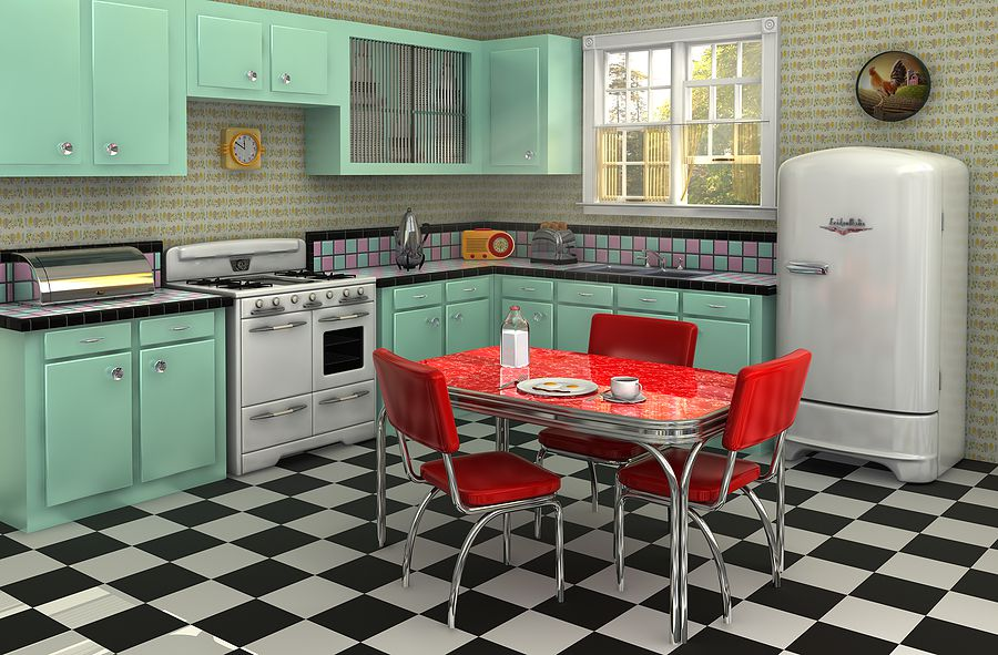 checkerboard linoleum kitchen