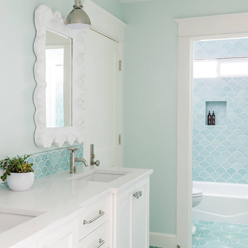 turquoise tile in bath