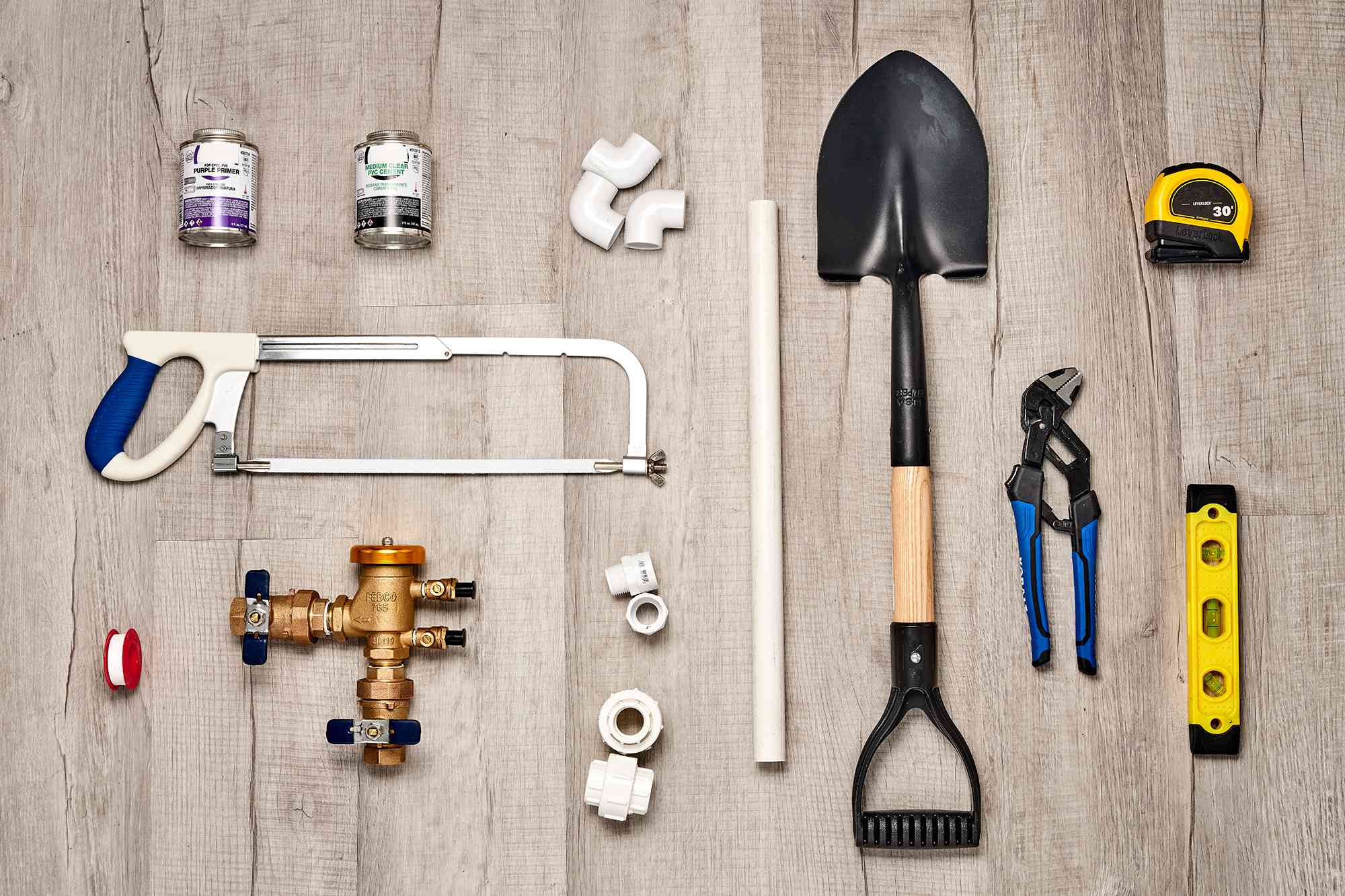 Materials and tools to install a pressure-vacuum breaker for irrigation system