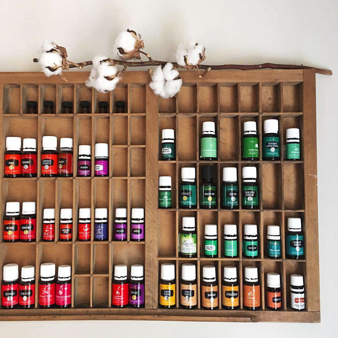 Letterpress drawer with essential oils
