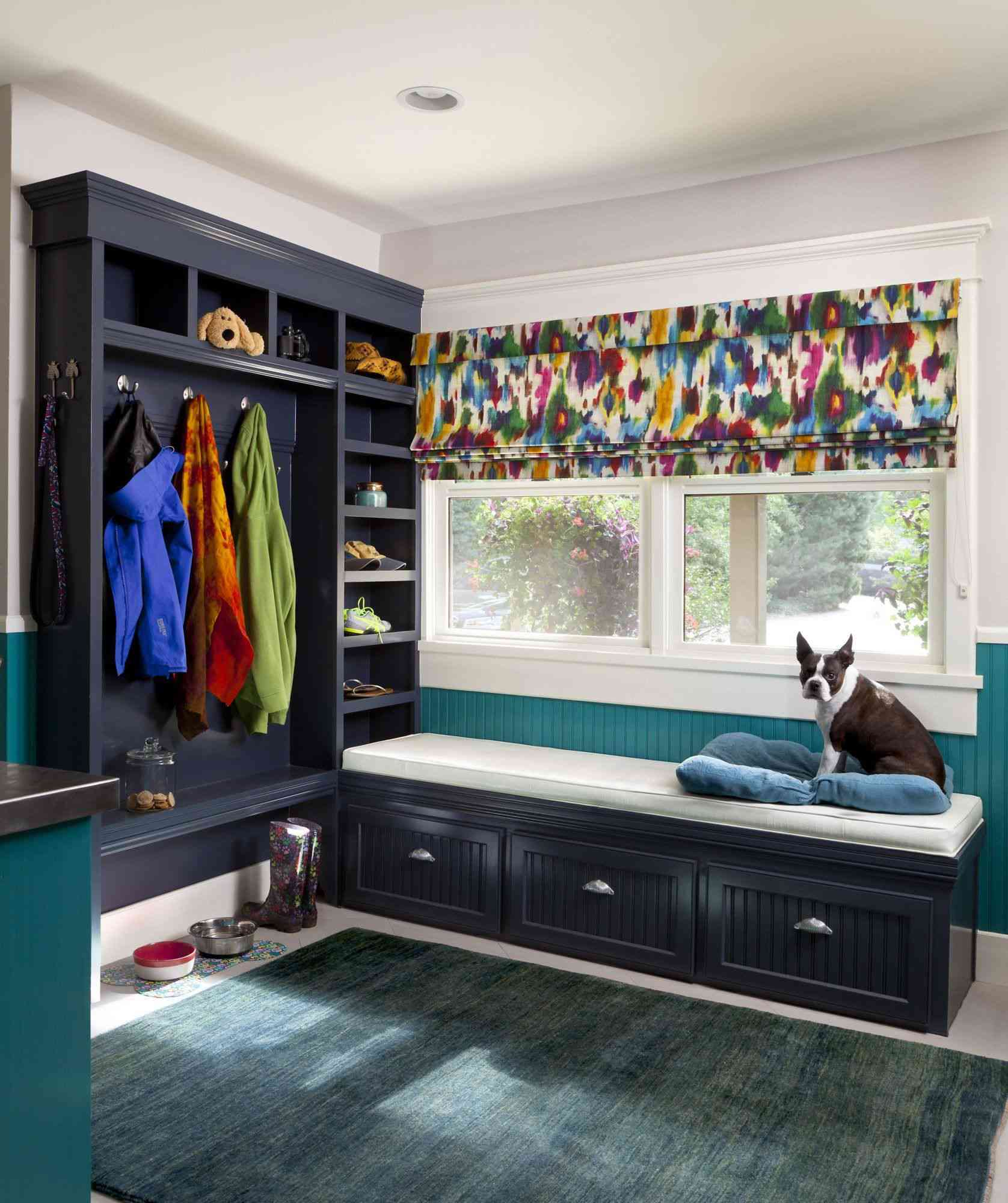 window bench in mudroom