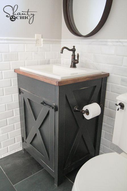 tocador de baño estilo casa de campo