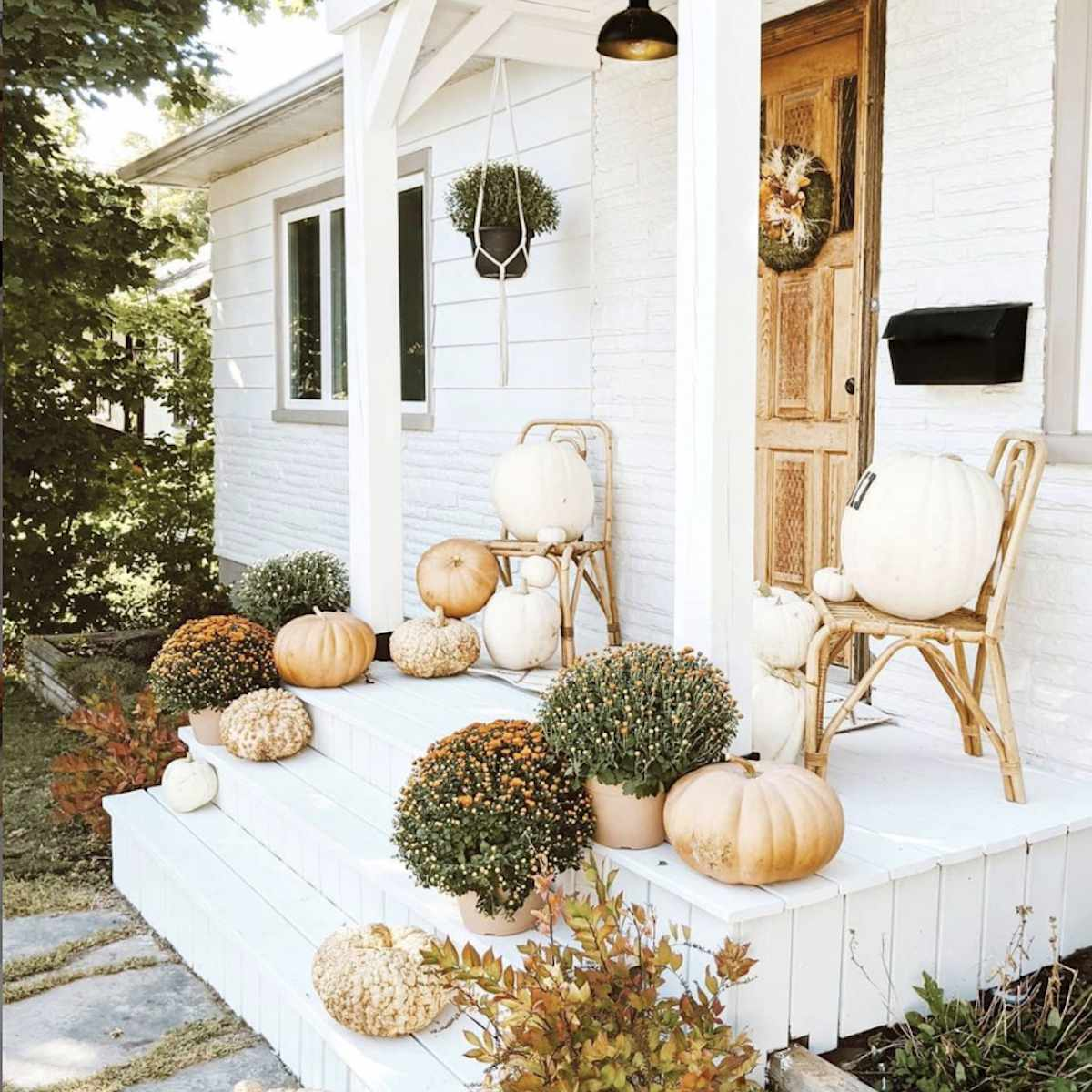 front porch painted white
