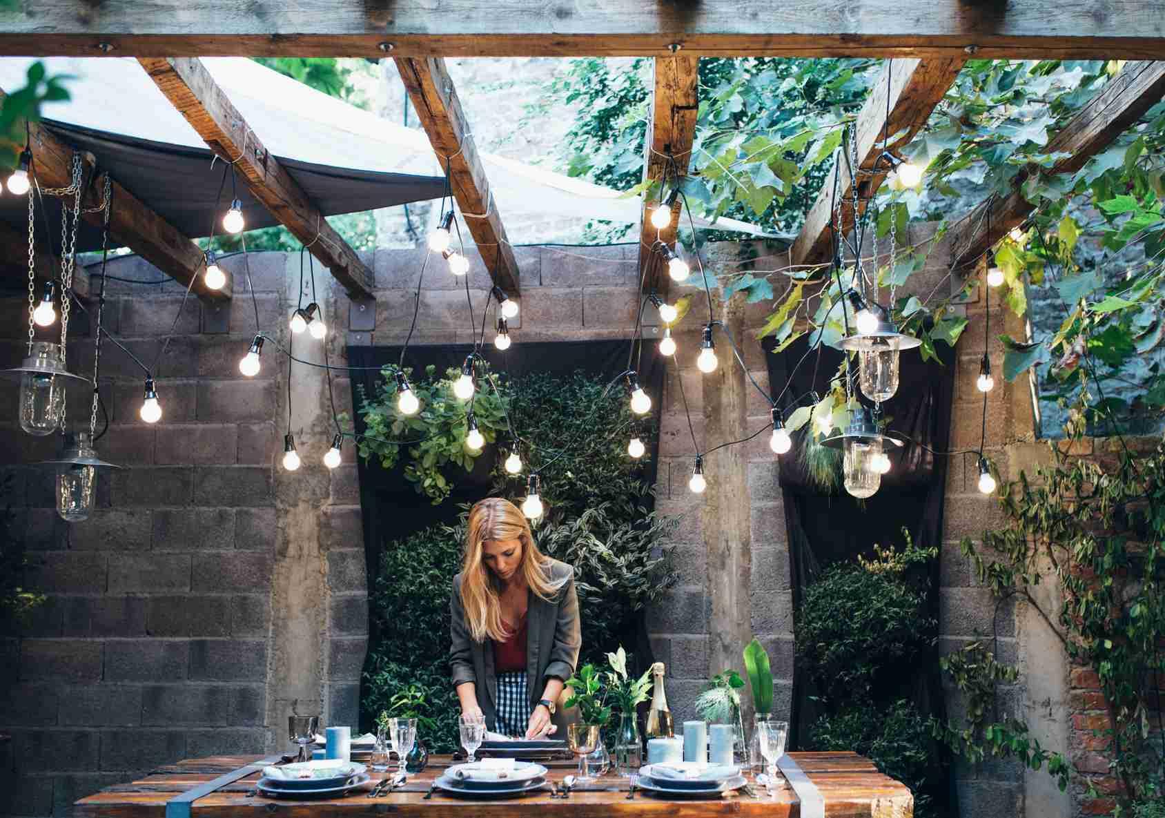 Backyard with hanging lights